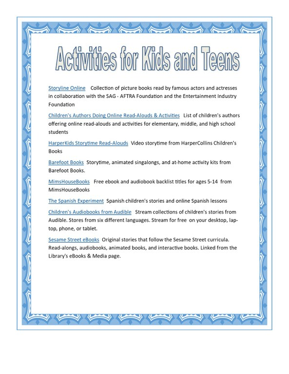 Activities for kids and teens